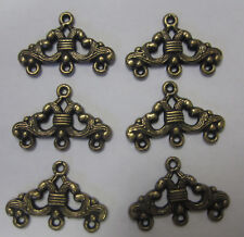 6 x 3 Row Ending Metal Finding End For Beading & Jewellery Making Bronze Tone