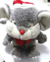 Commonwealth Mouse Christmas 1988 Toy Novelty Plush Stuffed Gray Red White