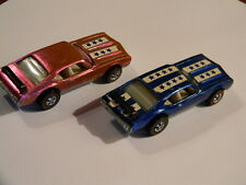 (2) Hot Wheels Redline Olds 442's / Original Stickers & Spoilers (Pink & Blue)
