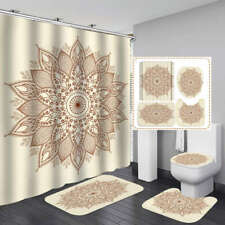 Beige Lotus BoHo Art Shower Curtain Bath Mat Toilet Cover Rug Bathroom Decor