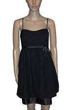 NEW! Little Black Satin Trimmed Sleeveless Tiered Peplum Party Mini Dress 8 14