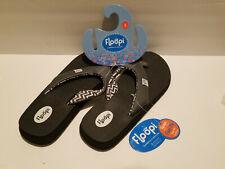 Floopi 518-Womens Thong Flip Flop Sandal 8 Black Medium Yoga Comfort Shoe