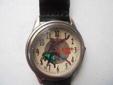 Fossil spider-man mens black leather watch.quartz,battery & water resist.Li-1037