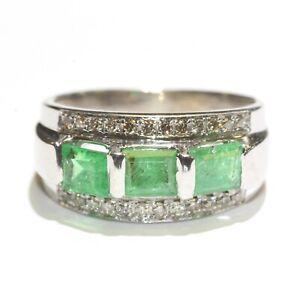 14k white gold .24ct SI1 H diamond Natural emerald band ring 6.2g estate 7.5