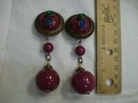 B27-80's Vintage Huge Runway Earrings Rhinestone CLIP on purple bead dangle 3.5""