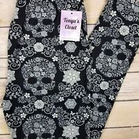 PLUS Floral Skull Leggings Black Gray Flowers Buttery Soft Curvy 10-18 TC