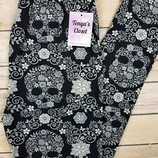 Floral Skull Leggings Black Gray Buttery Soft ONE SIZE OS