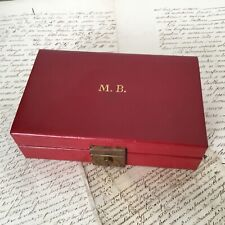 Ecrin Boite A Bijoux vintage en Cuir Rouge - French Red Leather Jewel Case Box