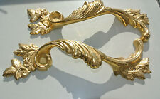 """2 used old look french style pulls handles pair heavy brass POLISHED doors 11"""""""