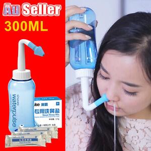 300ml Allergy Neti Pot Nasal Nose Sinus Relief Cleaner OR 30 Bags Washing Salt