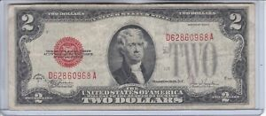 1928 F  $2 UNITED STATES NOTE TWO DOLLAR BILL               WITH RED SEAL