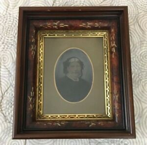 AAFA Antique Vermont Hand Colored Tintype Portrait in Gold & Wood Frame