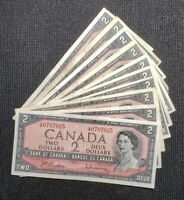 1954 Canada $2.00 Banknote Lot of 10 Notes Circulated