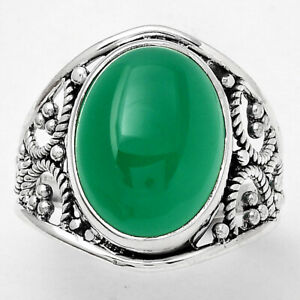 Natural Green Onyx 925 Sterling Silver Ring s.9 Jewelry E152