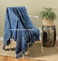 100% Cotton Fringed Lounge Sofa Bed Throw Rug Blanket Hand Block Print Indigo