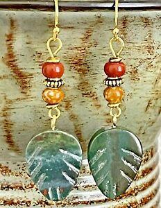 Lovely Green Stone Leaf Dangle Earrings.