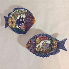 SKYROS Made In Greece Set Of 2  Fish Wall Decor Plates Hand Made