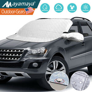SYOURSELF Car Windshield Snow Cover Windscreen Frost Cover Winter Snow Ice Magnetic Cover All Weather Sun Dust Ice Protect Car Cover Waterproof Outdoor Windshield Cover with Two Mirror Covers