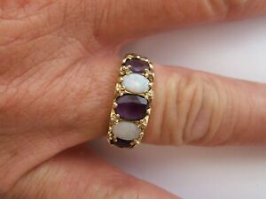 BEAUTIFUL  9CT GOLD... AMETHYST AND OPAL ETERNITY RING....S&K, LONDON   size 'N'