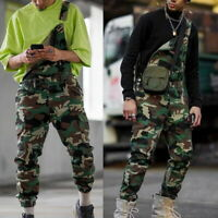 Fashion Men's Big Rigid Camouflage Bib Overalls Large Size Casual Pants GIFT