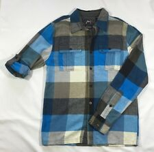 EUC Men's Rusty Blue and Gray Plaid Flannel Shirt-Size M
