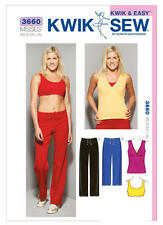 Kwik Sew Sewing Pattern 3660 Misses Activewear Workout Top Sports Bra Pants EASY