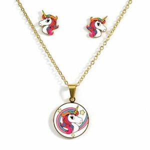 Unicorn Jewelry Set Girls Kids Necklace Earrings Stud Fashion Stainless Steel