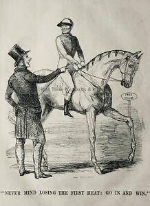 c1845 Antique Victorian Print FREE TRADE & HORSE RACING - NEVER MIND LOSING.....
