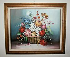 """Vtg Oil Painting on Canvas """"Flowers in a Basket"""" Solid Wood Frame, Signed"""