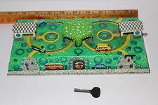 vintage 1950's tin litho key wind Russian toy car/bus race/street track WORKS