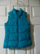 Lands End Girls Teal Quilted Down Filled Puffer Vest Size Large 6X - 7