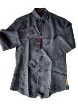 Camicie casual e maglie da uomo a manica lunga blu in lino