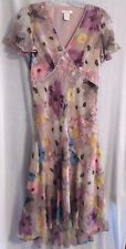 Sundance Catalog bias-cut  SILK  floral dress  SIZE 6   Beautiful!!!!!