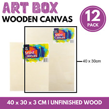 12 x WOODEN PAINTING BOARD ARTISTS CANVAS 30x40cm Unfinished Craft Wood Panel