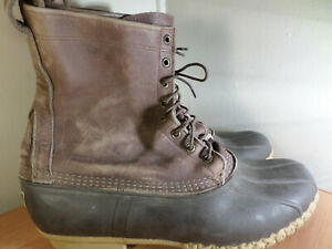 LL Bean Men's Size 13 Bean Hunting Boots Brown Leather Rubber - Fast Shipping