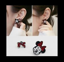 Minnie Mouse & Bow Unbalanced Enamel Clip on Stud Earrings for Non-pierced Ears