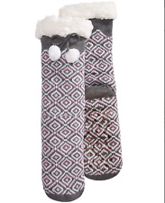 Charter Club Fleece Gripper Slipper Socks Gray Pink Geo Pattern