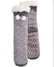 Charter Club Fleece Gripper Slipper Socks Gray Pink Geo Pattern
