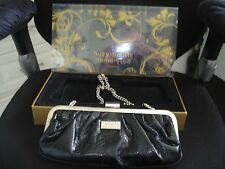 Suzy Smith Black Faux Crocodile Clutch Evening Handbag Presentation Box