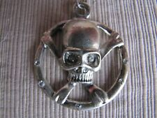 Skull & Crossbones Crossed Wrenches Mechanic Pendant with Necklace