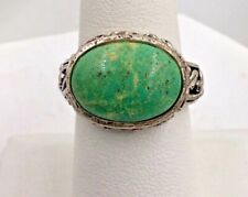 Ring size 6 3/4 Sterling Silver Green Agate Filigree