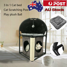 3 In 1 Pet Cat Scratching Post Kitten Gym House Bed Condo Furniture Removable