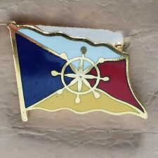 P&O Flag Enamel badge with ship wheel centre made by Manhattan Windsor 23x18mm