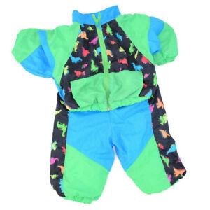 Vintage Hush Puppies Dinosaur Neon Green Blue Black Toddler Track Suit Set 18mo