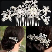 Chic Wedding Bridal Flower Pearls Hair Comb Clip Diamante Crystal Rhinestone LG