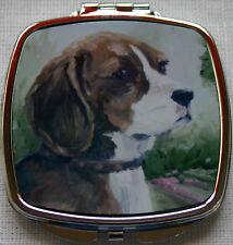 BEAGLE HOUND DOG HANDBAG COMPACT MIRROR OIL PAINTING PRINT SANDRA COEN ARTIST