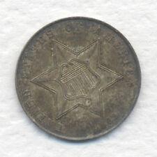 U. S. THREE CENT SILVER 1862 NICE GRADE TONED UNC., ORIGINAL TONING ESTATE FIND