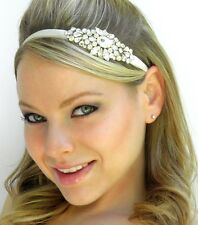 Bridal Tiara Hair Side Headband Beaded Ribbon Tiara Halo