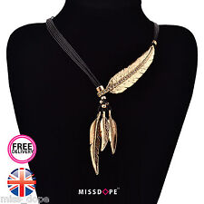 NEW GOLD CRYSTAL ROPE CHAIN FEATHER PENDANT NECKLACE WOMENS LADIES CHARM BOHO