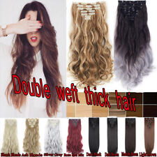 100% Natural 7 Pieces as Remy Human Hair Clip in Double Weft Hair Extensions@_@